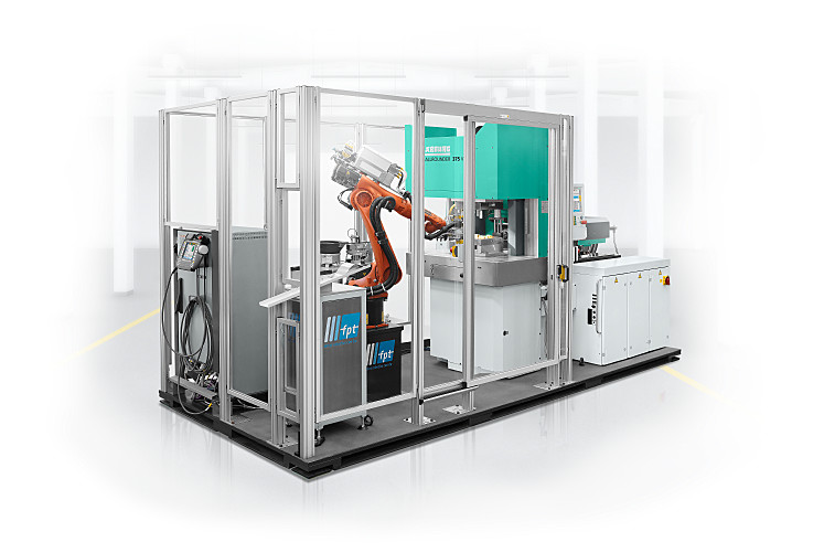 Plug and work: compact, fully CE-compliant production cell with vertical ALLROUNDER 375 V injection moulding machine and six-axis robotic system